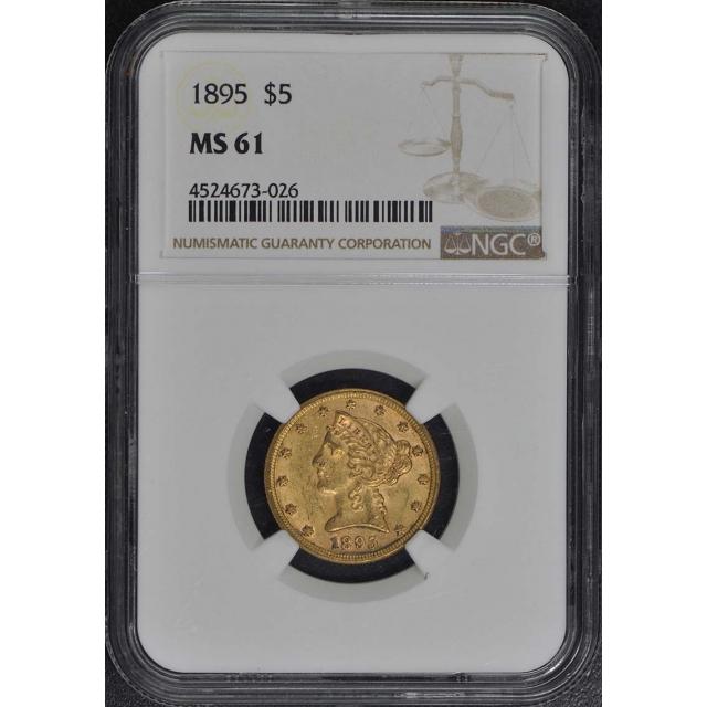 1895 Half Eagle - Motto $5 NGC MS61