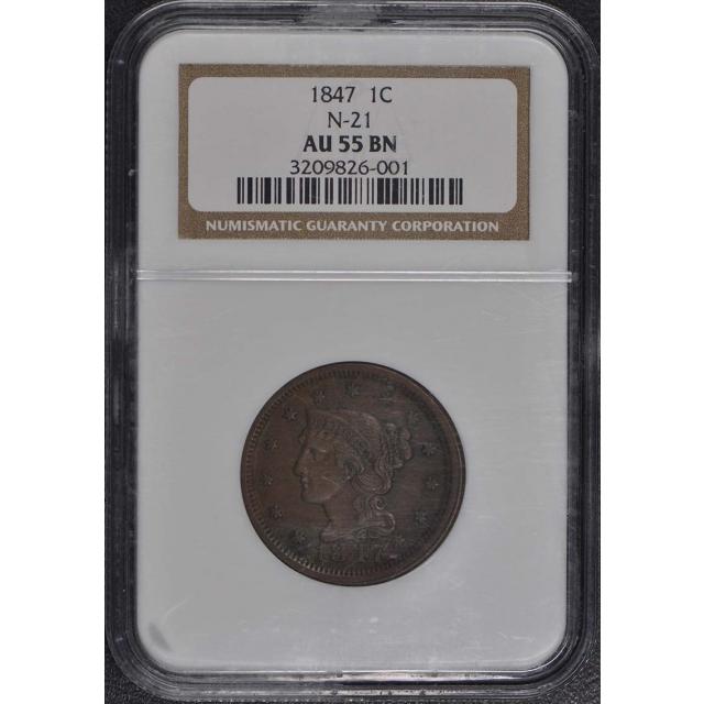 1847 Coronet, Braided Hair Cent N-21 1C NGC AU55BN