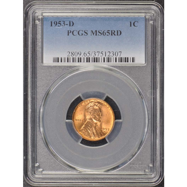 1953-D 1C Lincoln Cent - Type 1 Wheat Reverse PCGS MS65RD