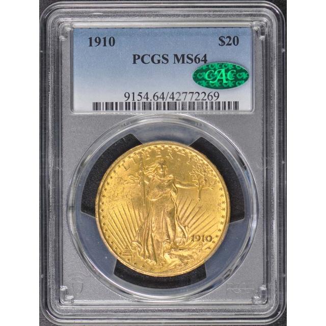 1910 $20 Saint Gaudens PCGS MS64 (CAC)