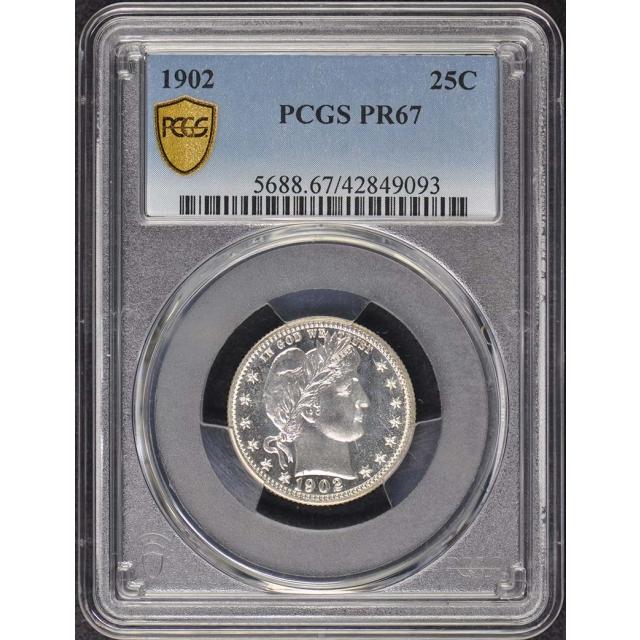 1902 25C Barber Quarter PCGS PR67