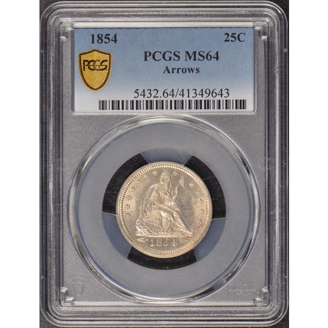 1854 25C Arrows Liberty Seated Quarter PCGS MS64