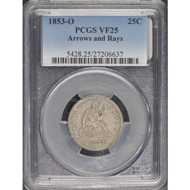 1853-O 25C Arrows and Rays Liberty Seated Quarter PCGS VF25