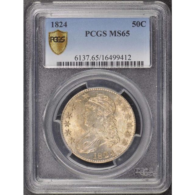 1824 50C Capped Bust Half Dollar PCGS MS65