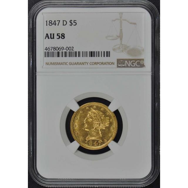 1847-D Half Eagle - No Motto $5 NGC AU58