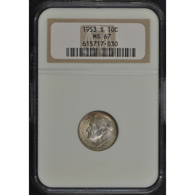 1953 S Roosevelt Dime (Silver) 10C NGC MS67