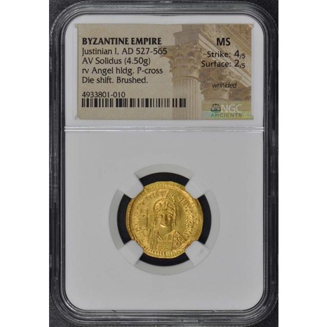 Justinian I, AD 527-565 BYZANTINE EMPIRE AV Solidus NGC MS60