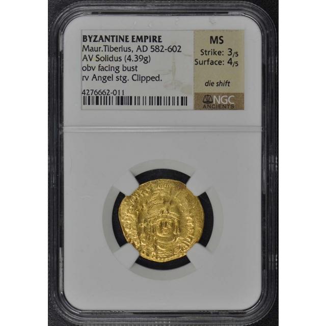 Maur.Tiberius AD 582-602 BYZANTINE EMPIRE Solidus NGC MS60 Die Shift