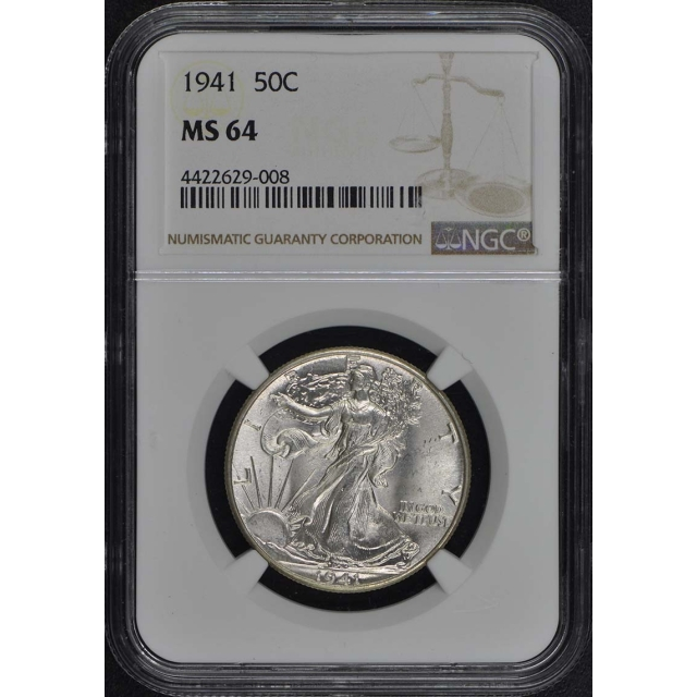1941 Walking Liberty Half Dollar 50C NGC MS64