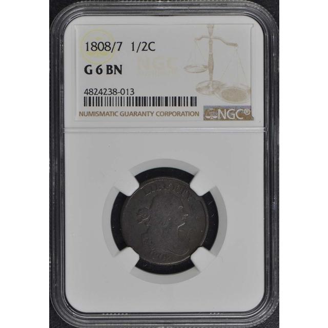 1808/7 Draped Bust Half Cent 1/2C NGC G6BN