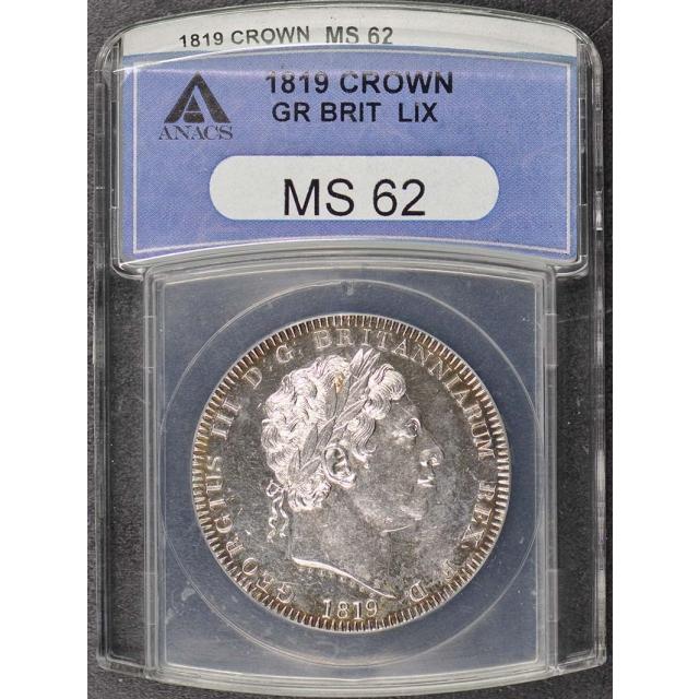 1819 Great Britian George III Lix Crown ANACS MS62