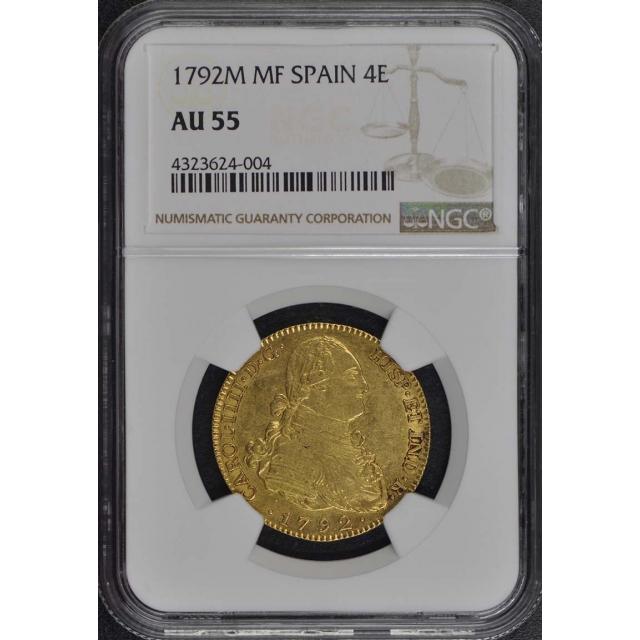 1792M MF SPAIN 4E Gold Four Escudo NGC AU55