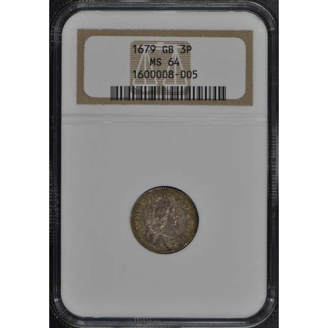 1679 G. Britain 3P Three Pence NGC MS64