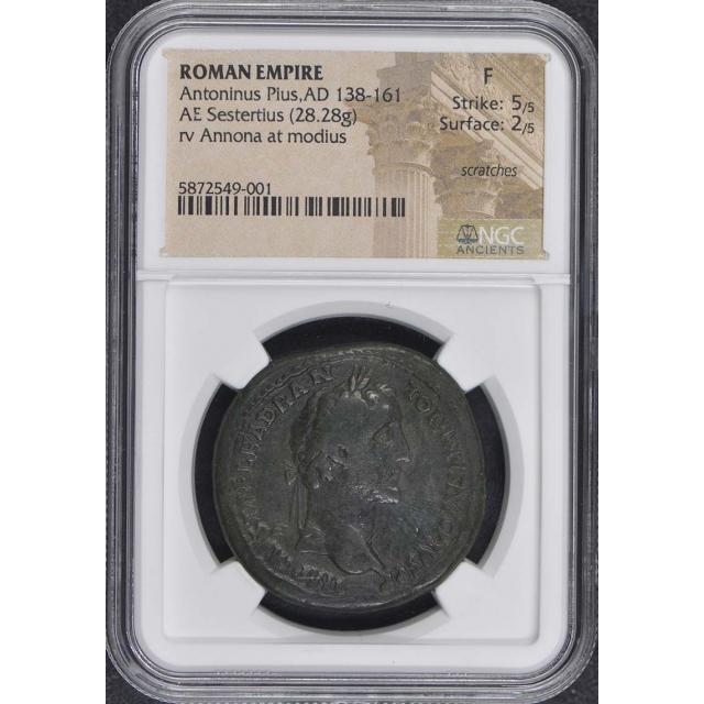 Antoninus Pius,AD 138-161 ROMAN EMPIRE AE Sestertius NGC F12