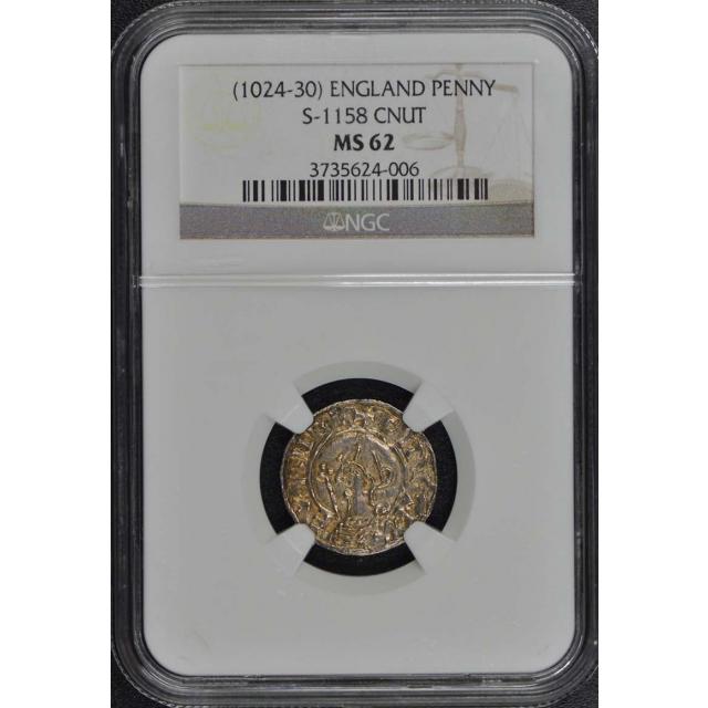 (1024-30) ENGLAND S-1158 CNUT PENNY NGC MS62