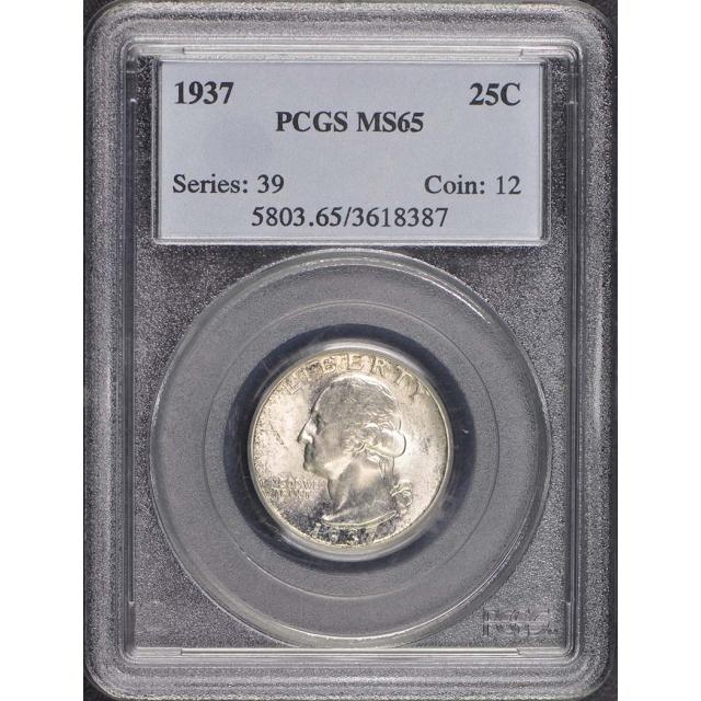 1937 25C Washington Quarter PCGS MS65