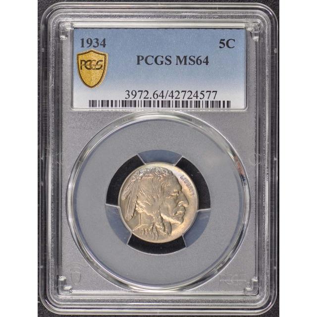 1934 5C Buffalo Nickel PCGS MS64