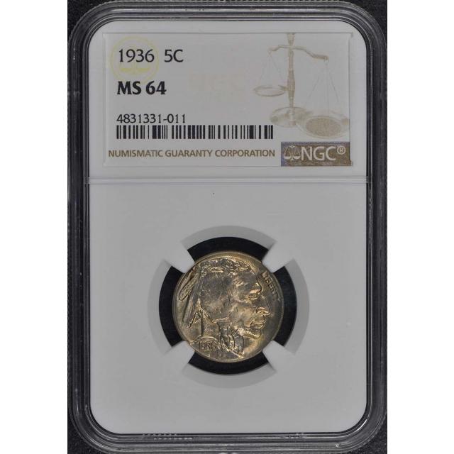 1936 Buffalo Nickel Type 2 5C NGC MS64
