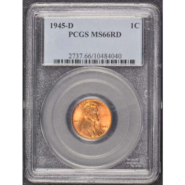 1945-D 1C Lincoln Cent - Type 1 Wheat Reverse PCGS MS66RD