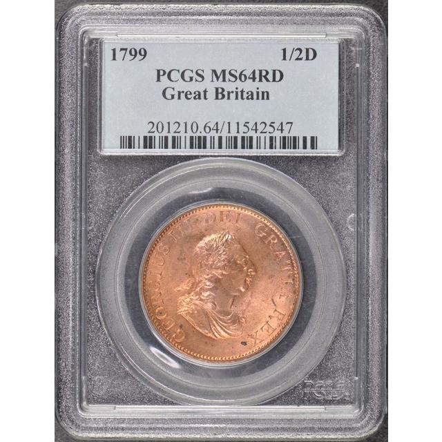 1799 1/2D Half Penny - George III PCGS MS64RD