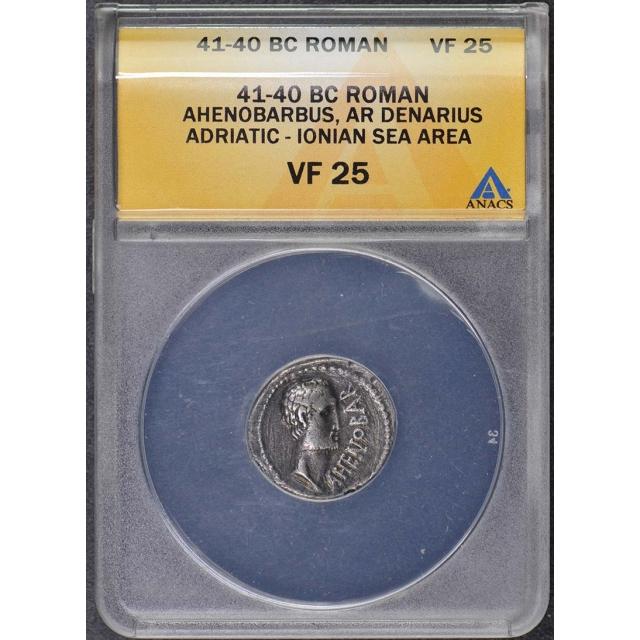 Ahenobarbus 41-40 BC Roman Republic Denarius ANACS VF25 Adriatic