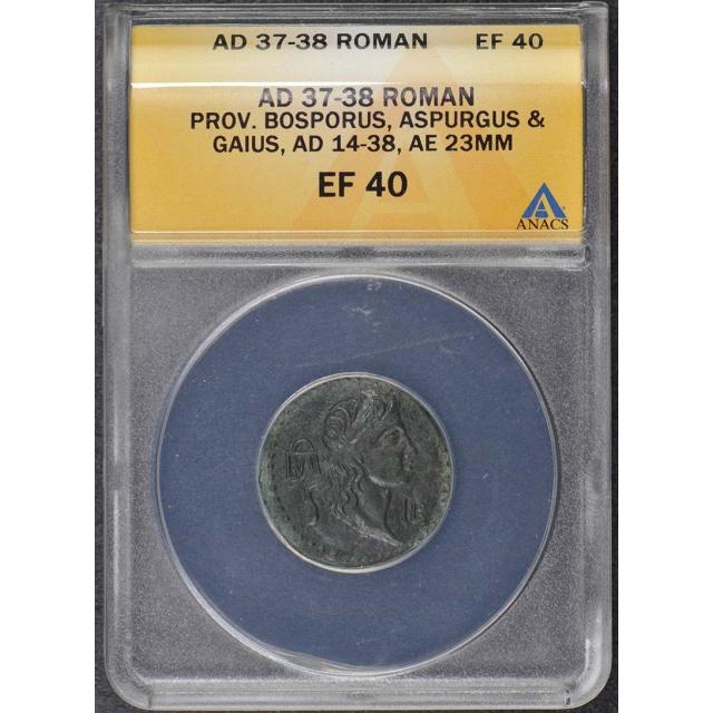 Aspurgus Gaius Roman Bosporus 14-38 AD AE 23MM ANACS EF40