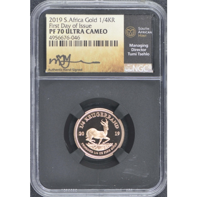 2019 S Africa Gold 1/4 Krugerrand NGC PF70 Ultra Cameo First Day