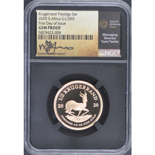 2020 S Africa 1/2 Gold Krugerrand NGC Gem Proof First Day Issue