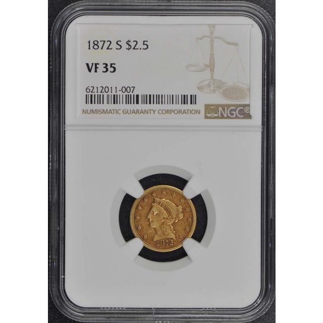 1872-S Quarter Eagle $2.50 NGC VF35