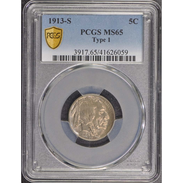 1913-S 5C Type 1 Buffalo Nickel PCGS MS65