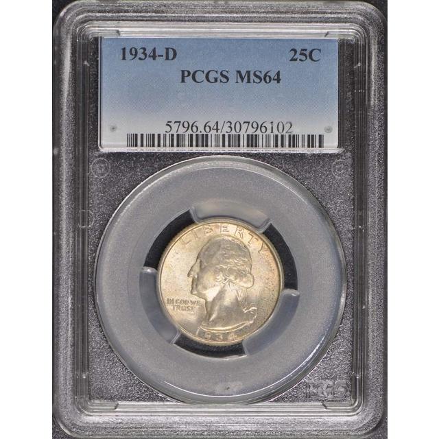 1934-D 25C Washington Quarter PCGS MS64