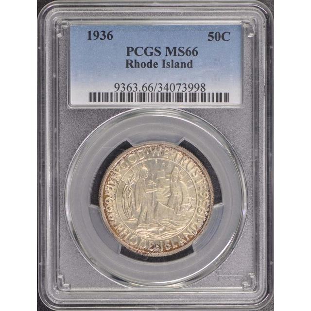 1936 P,D,S RHODE ISLAND 3PC Set 50C Silver Commemorative PCGS MS66