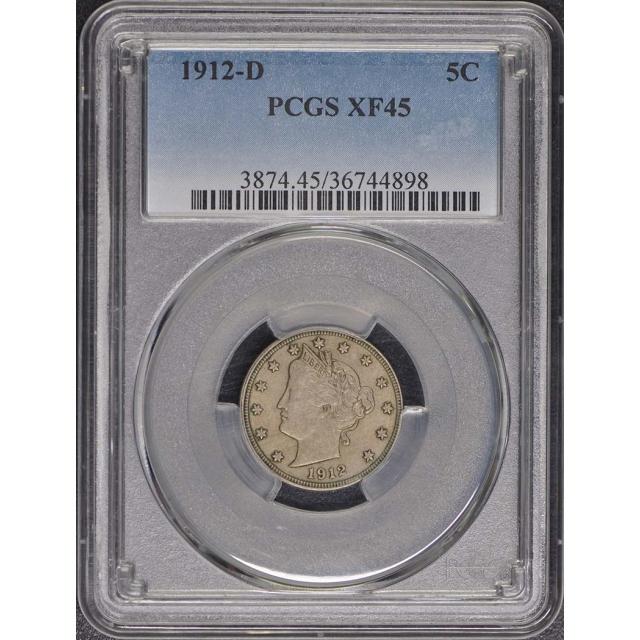 1912-D 5C Liberty Nickel PCGS XF45