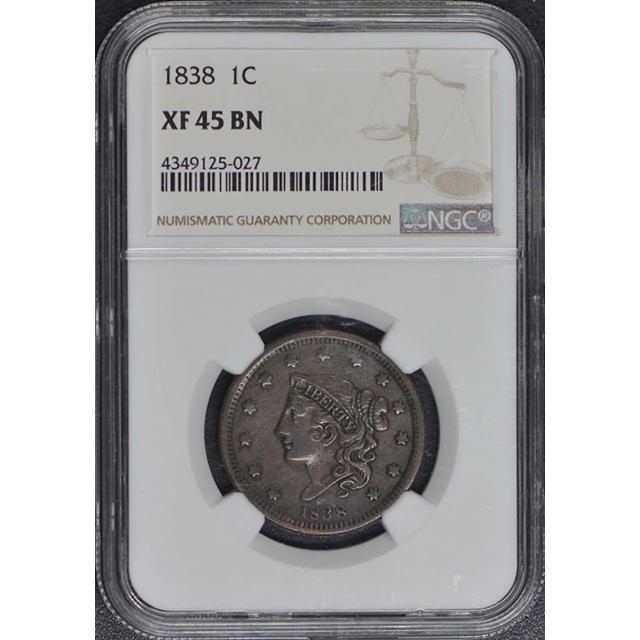 1838 Coronet Cent 1C NGC XF45BN
