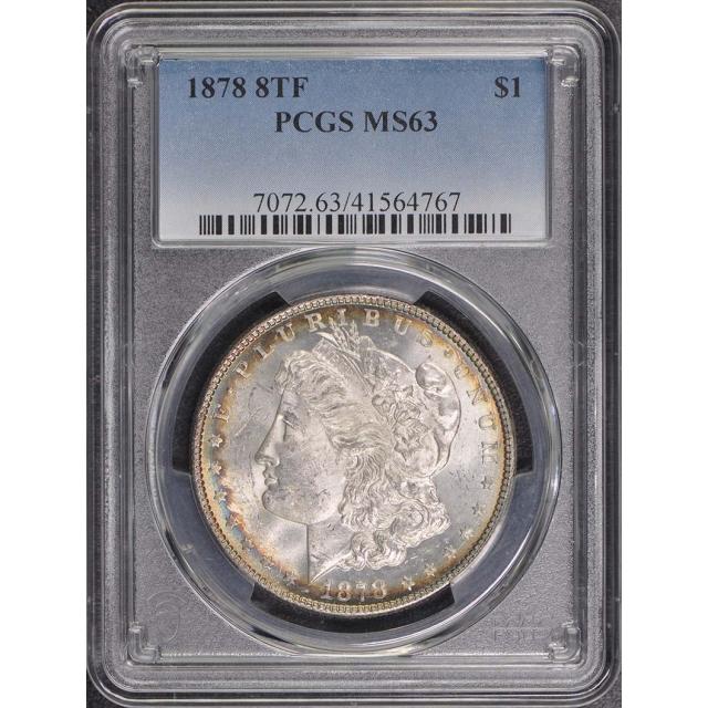 1878 8TF $1 8TF Morgan Dollar PCGS MS63