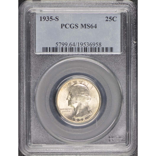 1935-S 25C Washington Quarter PCGS MS64