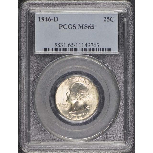 1946-D 25C Washington Quarter PCGS MS65