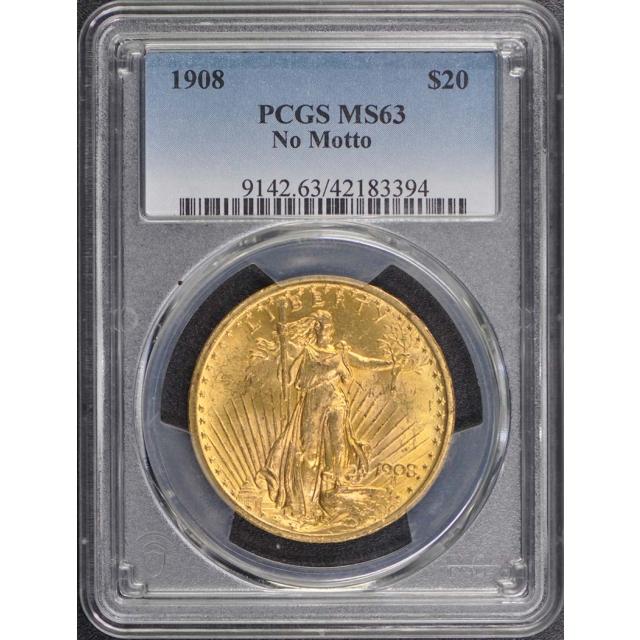 1908 $20 No Motto Saint Gaudens PCGS MS63