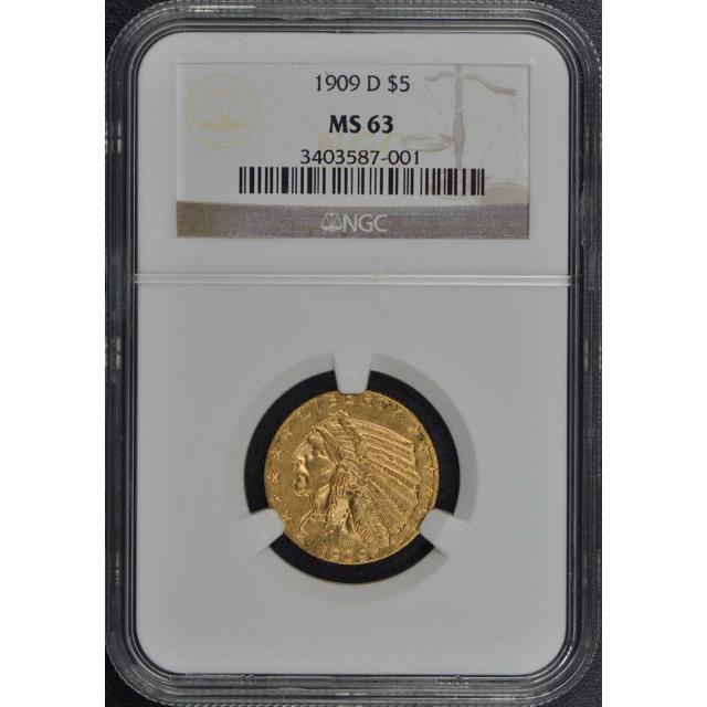 1909-D Indian $5 NGC MS63