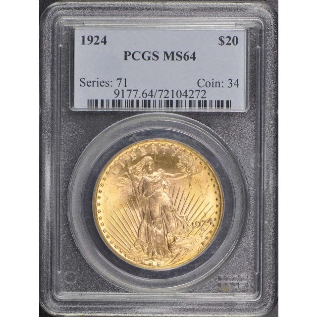 1924 $20 Saint Gaudens PCGS MS64
