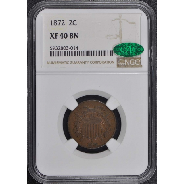 1872 Two Cent Piece 2C NGC XF40BN (CAC)