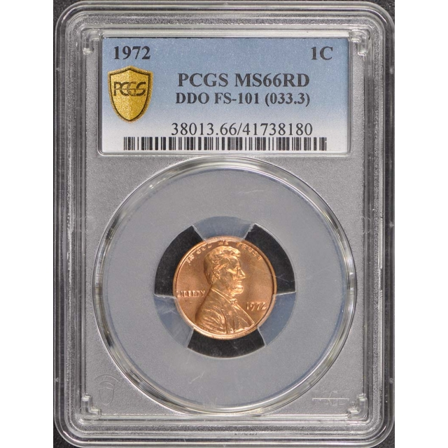 1972 1C Doubled Die Obverse DDO FS-101 Lincoln Cent PCGS MS66RD