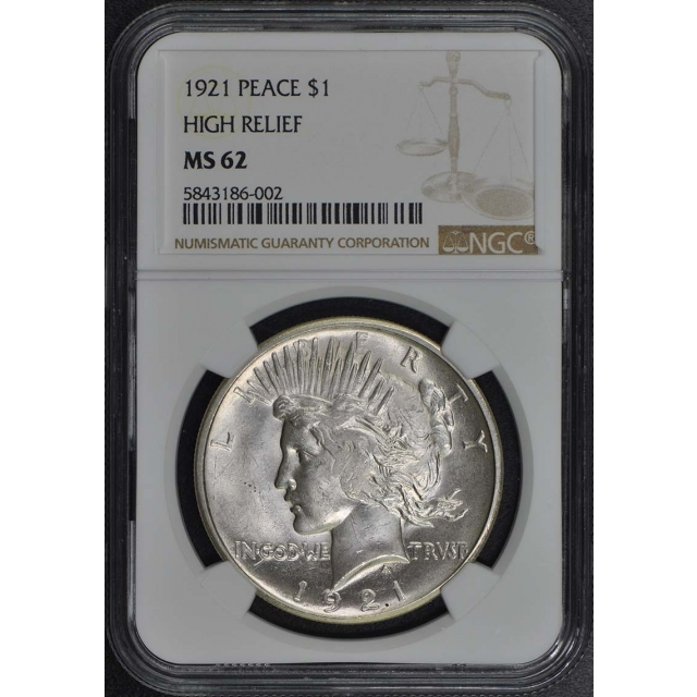 1921 Peace Dollar HIGH RELIEF S$1 NGC MS62