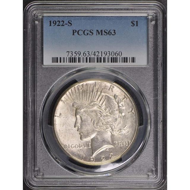 1922-S $1 Peace Dollar PCGS MS63