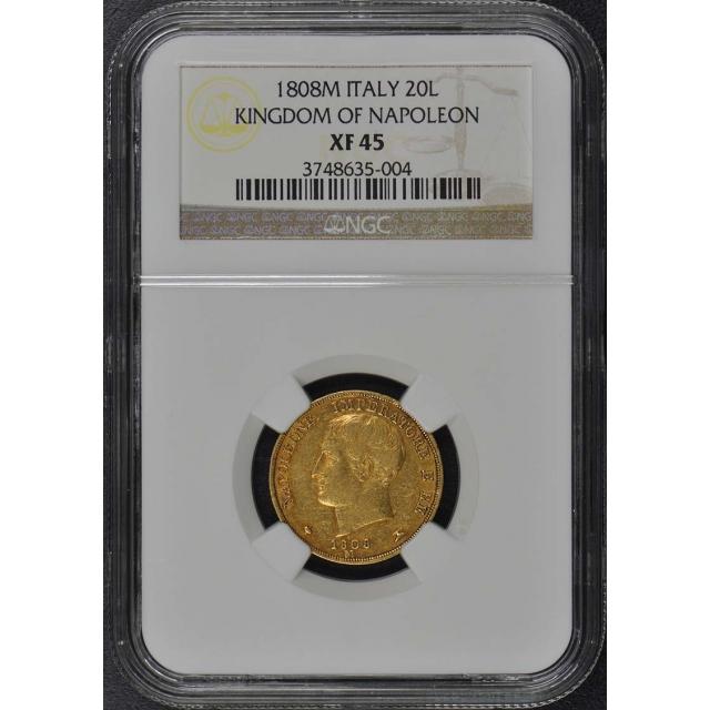 1808M ITALY KINGDOM OF NAPOLEON Gold 20L NGC XF45