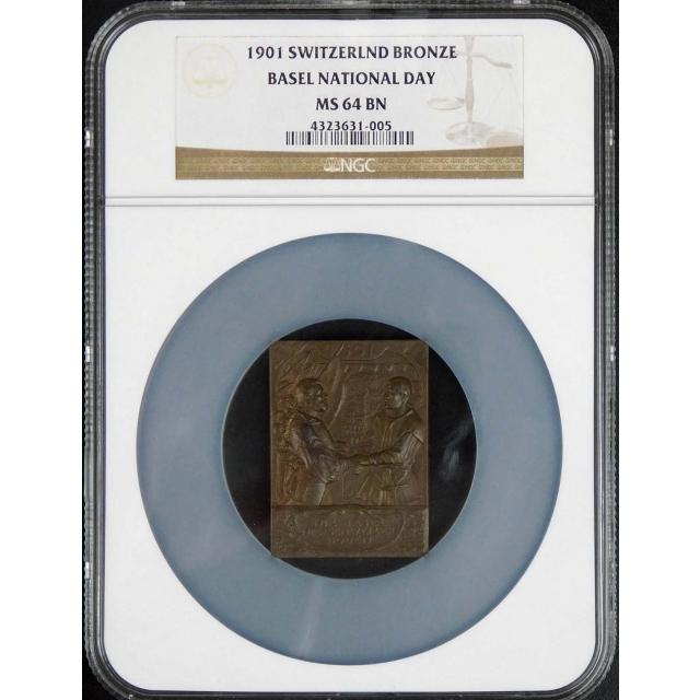 1901 Switzerland Bronze, Basel National Day Medal NGC MS64 BN