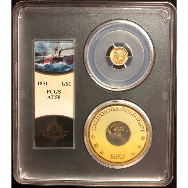 1851 G$1 Gold Dollar PCGS AU58 S.S. Central America W/Pinch Gold
