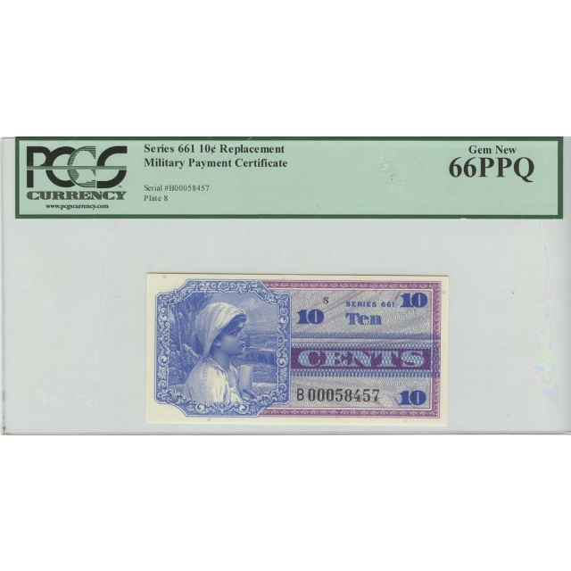 Military Payment 10c Series 661Replacement PCGS Gem New 66PPQ