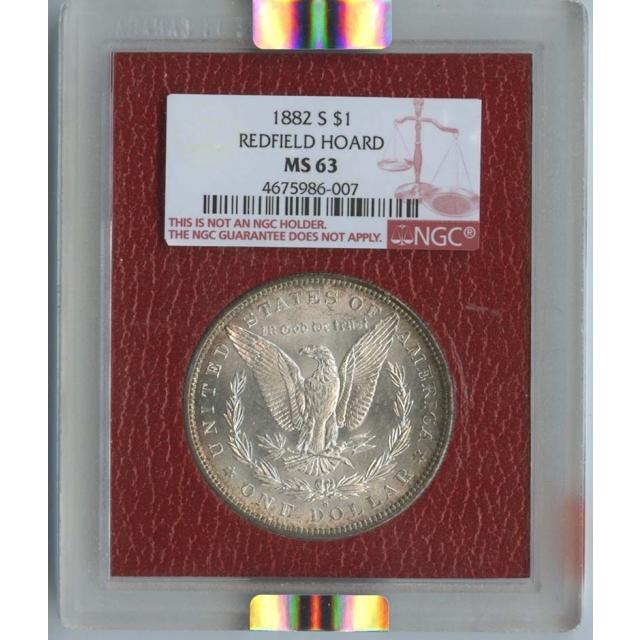1882-S $1 Morgan Dollar NGC MS63 Redfield Hoard