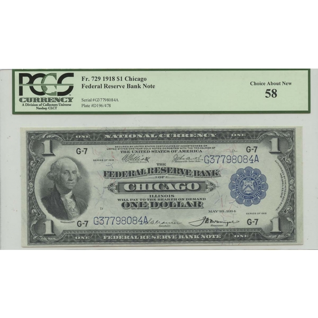 1918 $1 Federal Reserve Bank Note FR#729 PCGS CH58 About New